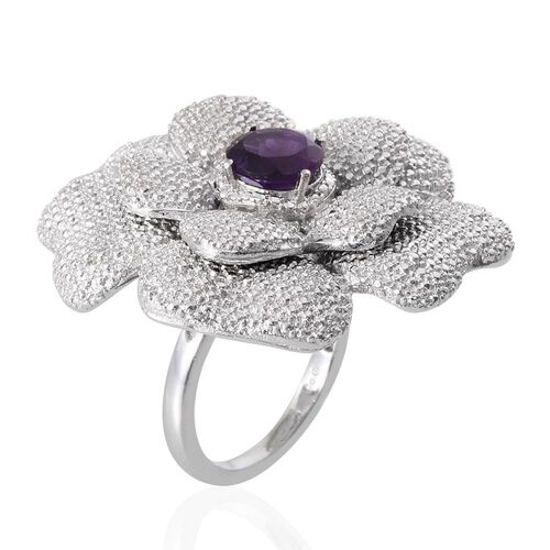 Amethyst (Rnd) Floral Ring in ION Plated Platinum Bond 1.750 Ct.