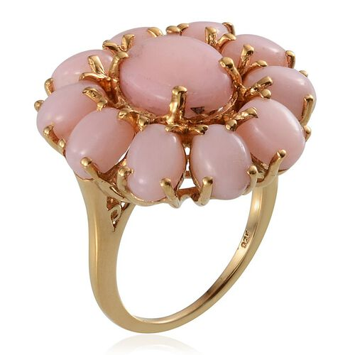 Peruvian Pink Opal (Ovl 2.00 Ct) Floral Ring in 14K Gold Overlay Sterling Silver 8.250 Ct.