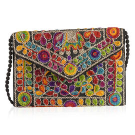 Designer Inspired - Yellow, Navy and Multi Colour Elephant and Floral Embroidered Envelope Design Cotton Sling Bag (Size 30X20 Cm)