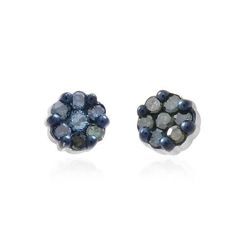 Blue Diamond (Rnd) Stud Earrings (with Push Back) in Platinum Overlay Sterling Silver 0.150 Ct.
