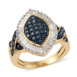 Blue Diamond (Rnd), White Diamond Ring in 14K Gold Overlay Sterling Silver 0.760 Ct.