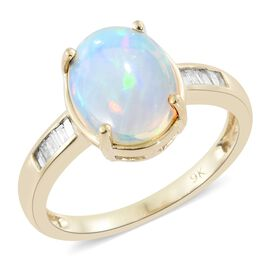 Limited Edition- 9K Yellow Gold Rare Size AA Ethiopian Welo Opal (Ovl 11X9) Diamond Ring 2.000 Ct.