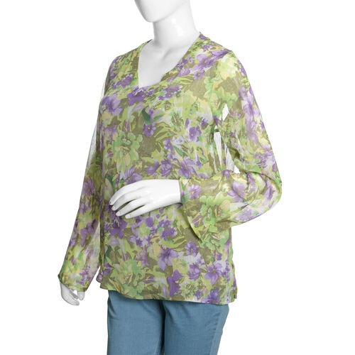 Green, Purple and Multi Colour Floral Printed Tunic (Size 70X50 Cm)