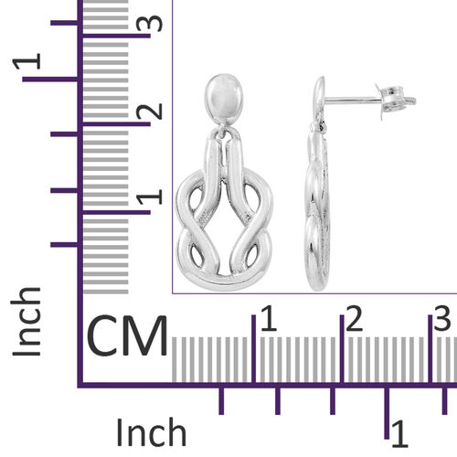 Designer Inspired-Sterling Silver Knot Earrings (with Push Back), Silver wt 4.76 Gms.