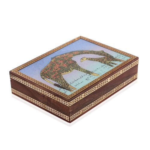 Handcrafted Wooden Gemstone Jewellery Box with Giraffe Painting on Top (Size 21x16x5 Cm)