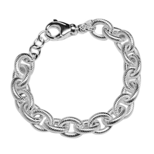 JCK Vegas Collection Sterling Silver Diamond Cut Oval Link Bracelet (Size 8 with Extender), Silver wt 25.28 Gms.