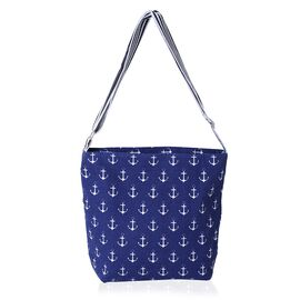 White and Blue Colour Anchor Pattern Crossbody Bag with External Zipper Pocket (Size 31x30x24x10 Cm)