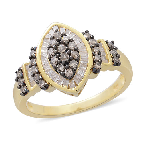 Designer Inspired- Natural Champagne Diamond (Rnd), White Diamond Ring in 14K Gold Overlay Sterling Silver 1.000 Ct.