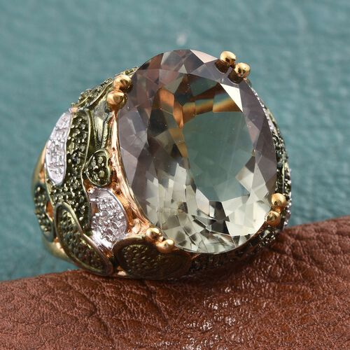 Green Amethyst (Ovl), Diamond Ring in 14K Gold Overlay Sterling Silver 15.500 Ct. Silver wt 12.94 Gms.