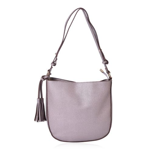 Silver Colour Shoulder Bag with Tassels (Size 29x27x6 Cm)