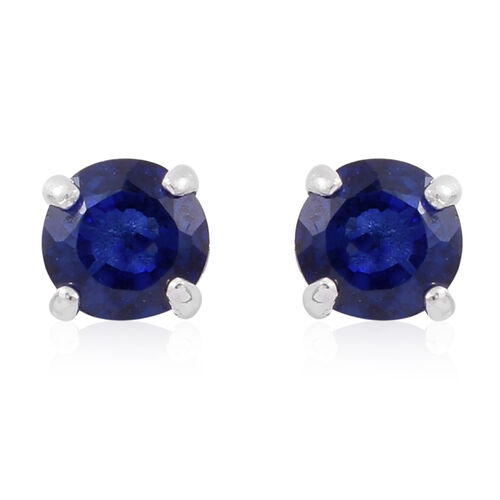 Masoala Sapphire (Rnd) Solitaire Pendant and Stud Earrings (with Push Back) in Rhodium Plated Sterling Silver 1.750 Ct.
