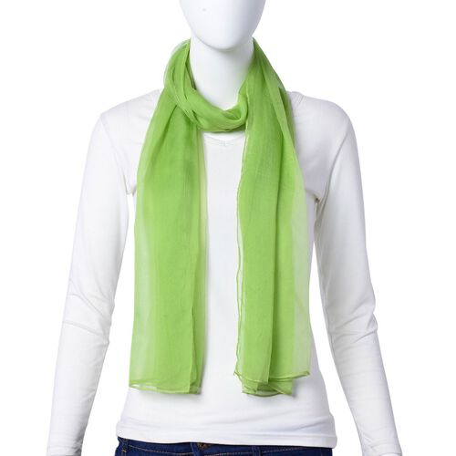 Pantone Collection - 100% Mulberry Silk Greenery Colour Scarf (Size 170x70Cm)