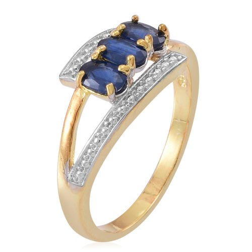 Kanchanaburi Blue Sapphire (Ovl) Trilogy Ring in 14K Gold Overlay Sterling Silver 1.000 Ct.