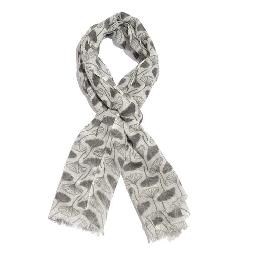 100% Merino Wool Grey and Off White Colour Printed Scarf with Fringes (Size 180X70 Cm)