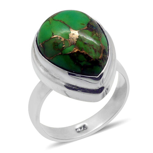 Royal Bali Collection Mojave Green Turquoise (Pear) Solitaire Ring in Sterling Silver 7.280 Ct.