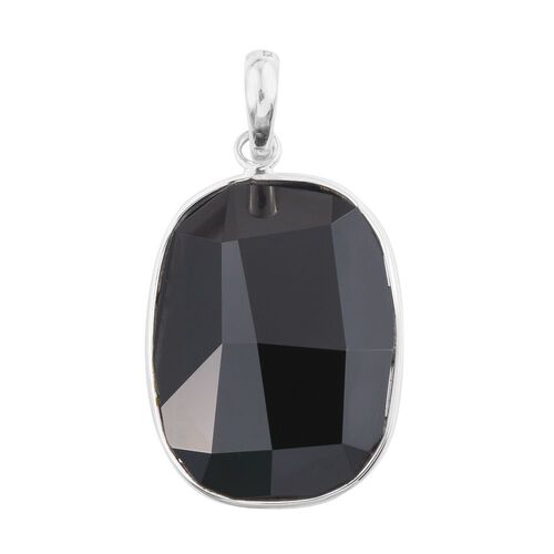 J Francis Crystal from Swarovski - Black Colour Crystal Pendant in Platinum Overlay Sterling Silver