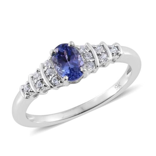 9K White Gold 0.72 Ct AA Tanzanite Ring with Natural Cambodian Zircon