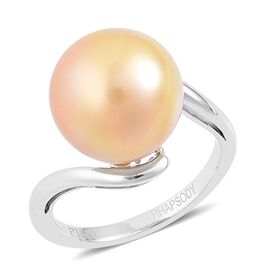 Collectors Edition- RHAPSODY 950 Platinum AAAA South Sea Golden Pearl (Rnd 13-14mm) Solitaire Ring, Platinum Wt 6.00 Gms.