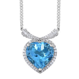 Marambaia Topaz (Hrt 11.50 Ct), Natural Cambodian Zircon Pendant with Chain in Platinum Overlay Sterling Silver 12.000 Ct. Silver wt 5.65 Gms.