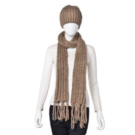 Sequin Embellished Khaki Colour Knitted Scarf with Tassels (Size 165X18 Cm) and Hat (Size 30X20 Cm)