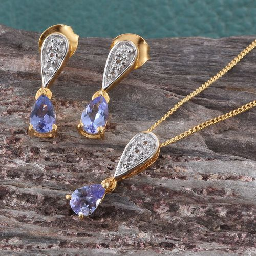 Tanzanite Pear, White Topaz Pendant With Chain and Stud Earrings with Push Back in 14K Gold Overlay Sterling Silver 1.50 Ct.