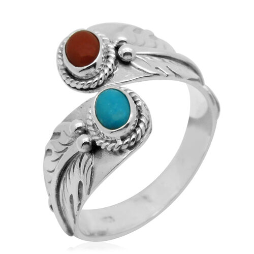 Royal Bali Collection Mediterranean Coral (Ovl 0.60 Ct), Arizona Sleeping Beauty Turquoise Crossover Ring in Sterling Silver 0.850 Ct.