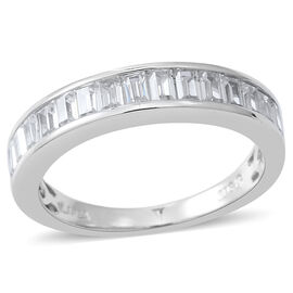 ELANZA AAA Simulated White Diamond (Bgt) Half Eternity Ring in Rhodium Plated Sterling Silver, Silver wt 3.50 Gms.