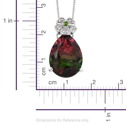 Bi-Color Tourmaline Quartz (Pear 9.45 Ct), Russian Diopside and Diamond Pendant With Chain in Platinum Overlay Sterling Silver 9.500 Ct.