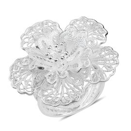 Sterling Silver Floral Ring, Silver wt 5.46 Gms.