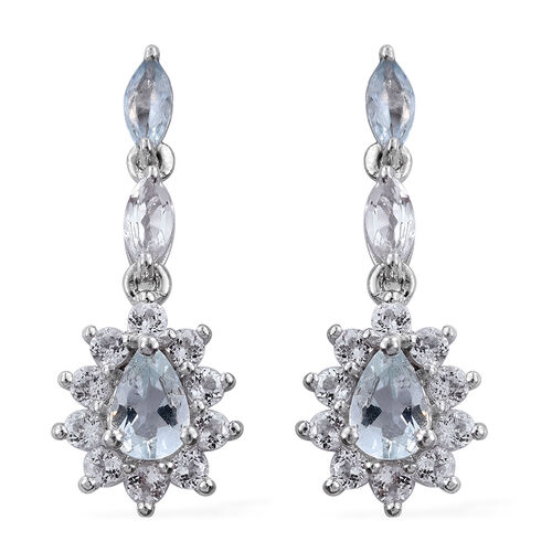 Espirito Santo Aquamarine (Pear), White Topaz Earrings (with Push Back) in Platinum Overlay Sterling Silver 2.250 Ct.