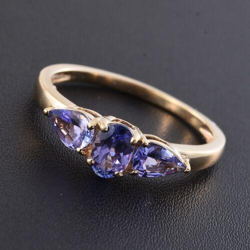 9K Yellow Gold 1.17 Carat AA Tanzanite (Ovl) 3 Stone Ring