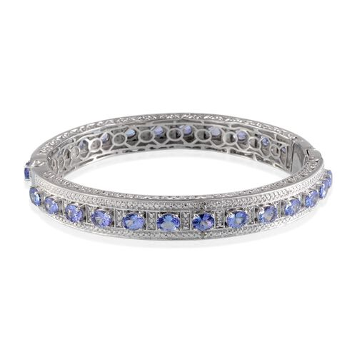 Tanzanite (Ovl), Diamond Bangle (Size 7.5) in Platinum Overlay Sterling Silver 8.300 Ct.