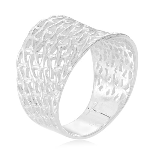 Thai Sterling Silver Weave Net Design Ring, Silver wt 5.64 Gms.