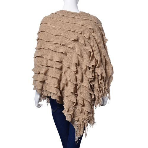 Italian Designer Inspired Brown Colour Lace Pattern Poncho with Tassels (Free Size)