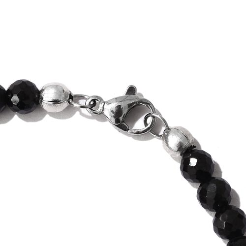 J Francis Crystal from Swarovski - Ruby Colour Crystal (Rnd), Boi Ploi Black Spinel Bracelet (Size 7.5) in Platinum Bond