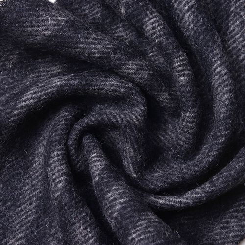 100% Wool Black and Grey Colour Stripes Pattern Scarf with Tassels (Size 200X30 Cm)