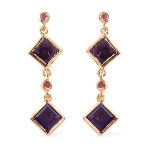 Amethyst (Sqr), African Ruby Earrings (with Push Back) in 14K Gold Overlay Sterling Silver 4.250 Ct.