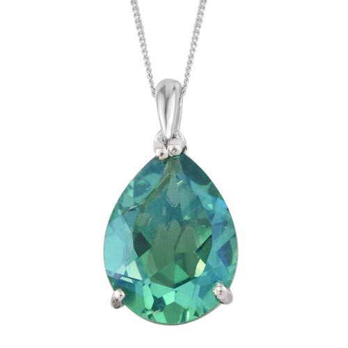 Peacock Quartz (Pear) Solitaire Pendant with Chain in Platinum Overlay Sterling Silver 9.000 Ct.