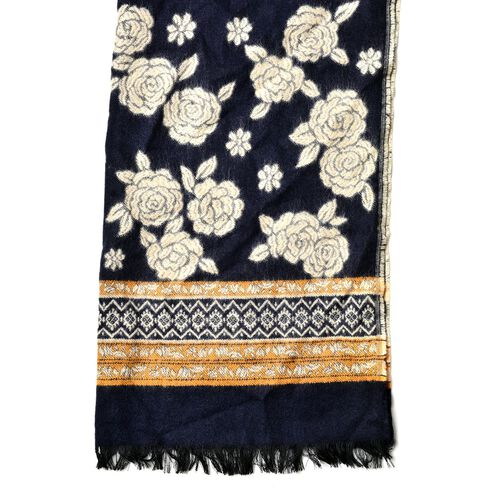 Close Out- Designer Inspired Navy and White Colour Floral Pattern Reversible Scarf with Fringes (Size 180x65 Cm)