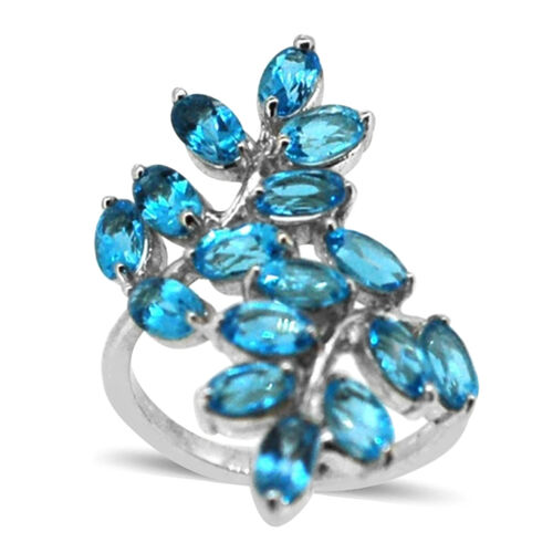 Swiss Blue Topaz (Ovl) Leaves Crossover Ring in Rhodium Plated Sterling Silver 4.500 Ct.