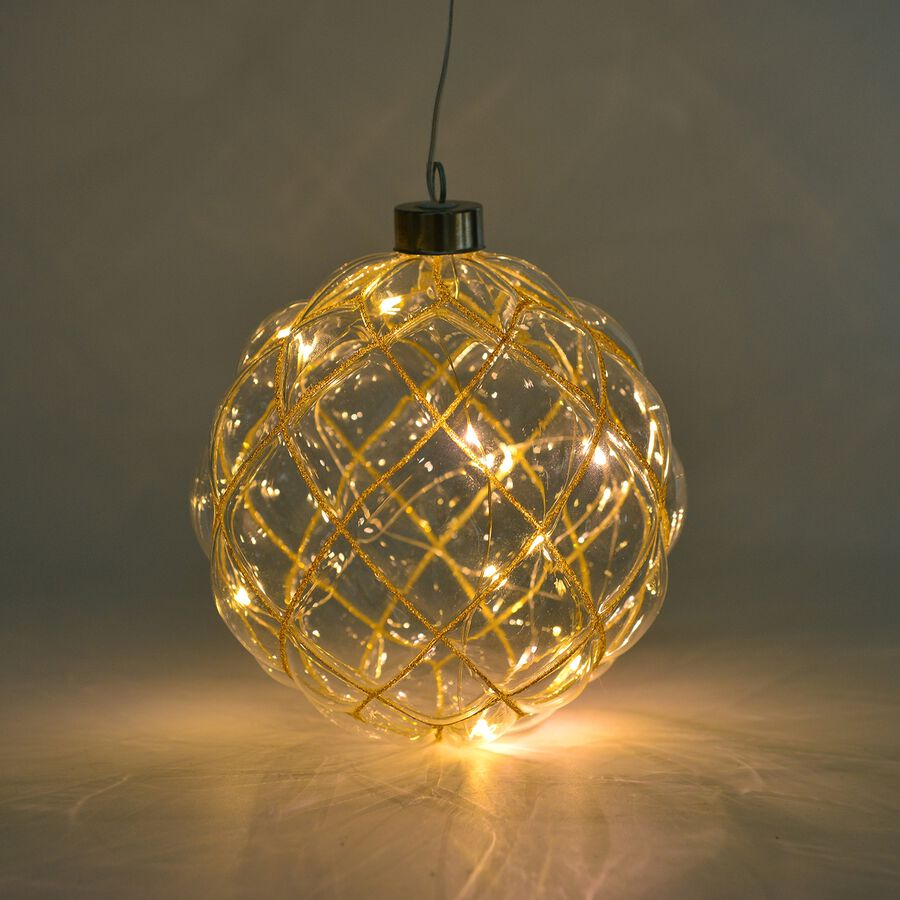 Golden Hanging Glass Ball With Led Lights 2844126 Tjc