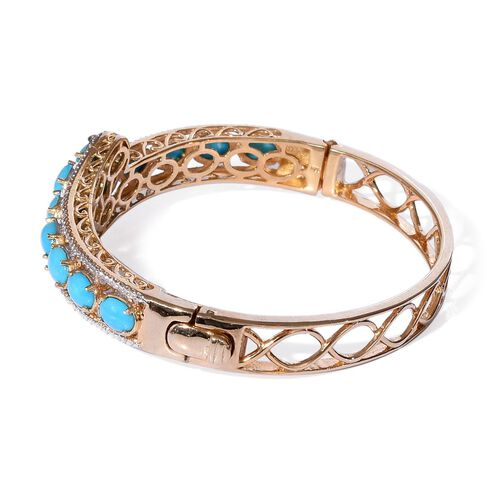 Arizona Sleeping Beauty Turquoise (Ovl) Bangle (Size 7.5) in 14K Gold Overlay Sterling Silver 6.750 Ct.