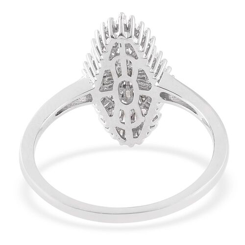 Diamond (Bgt) Cluster Ring in Platinum Overlay Sterling Silver 0.500 Ct.