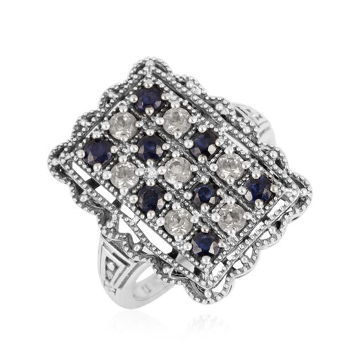 Tribal Collection of India Kanchanaburi Blue Sapphire (Rnd), White Topaz Ring in Sterling Silver 2.250 Ct.