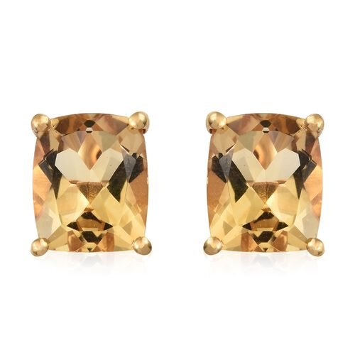 Citrine (Cush) 8 Carat Silver Stud Earrings in 14K Gold Overlay (with Push Back)