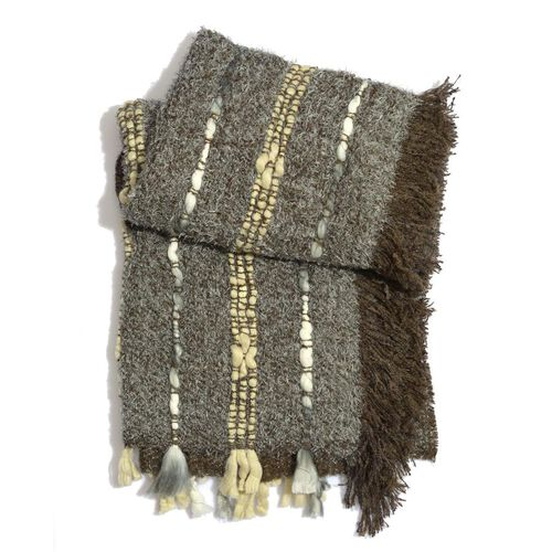 Grey and Chocolate Colour Shawl with Fringes at the Bottom (Free Size)