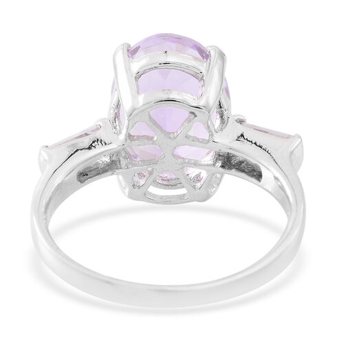 Rose De France Amethyst (Ovl 5.00 Ct), White Topaz Ring in Rhodium Plated Sterling Silver 5.500 Ct.