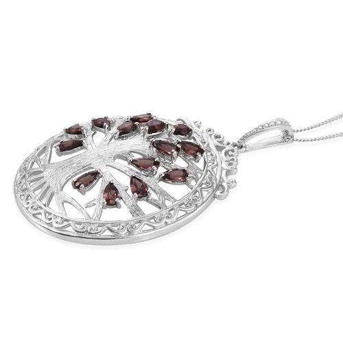 AA Umba River Zircon (Pear) Tree Pendant With Chain in Platinum Overlay Sterling Silver 4.500 Ct.