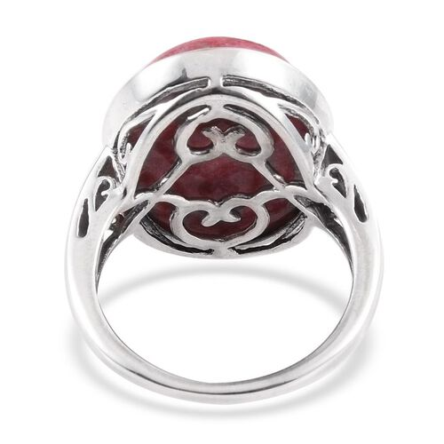 Norwegian Thulite (Ovl) Ring in Platinum Overlay Sterling Silver 17.250 Ct.