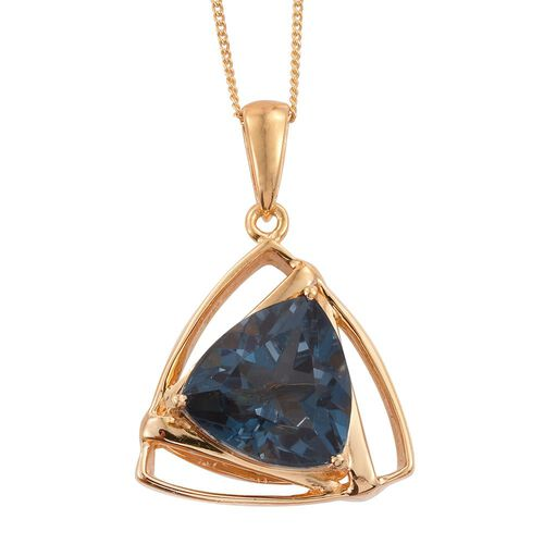 Indicolite Quartz (Trl) Solitaire Pendant With Chain in 14K Gold Overlay Sterling Silver 6.250 Ct.